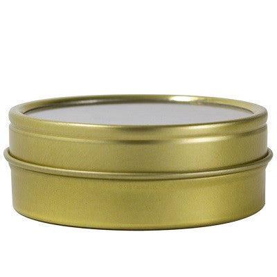 Gold Metal Steel Tin Flat Containers with Tight Sealed Clear Lids - 2 oz