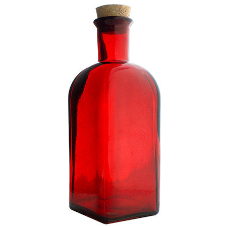 Red Glass Spanish Bottle with Natural Cork Top - 17 oz / 500 ml