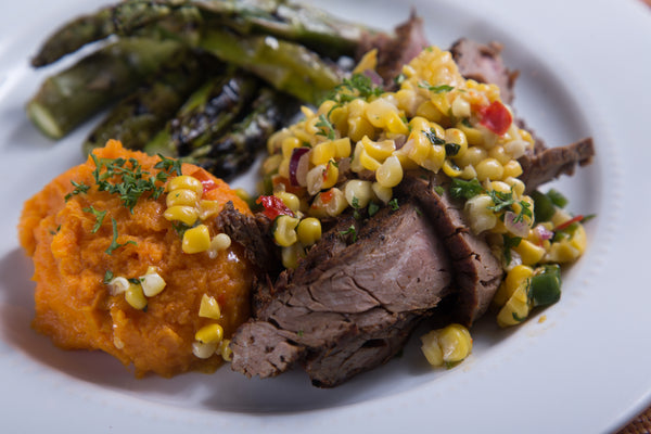 Dry Rubbed Flank Steak and Grilled Corn Salsa
