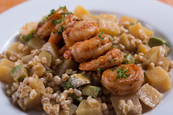 Farro Shrimp and Golden Beet Salad