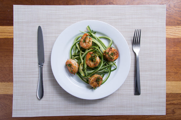 Grilled Shrimp over Cucumber 'Noodles'