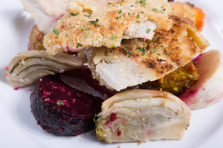 Chicken Cutlets with Roasted Root Veggies