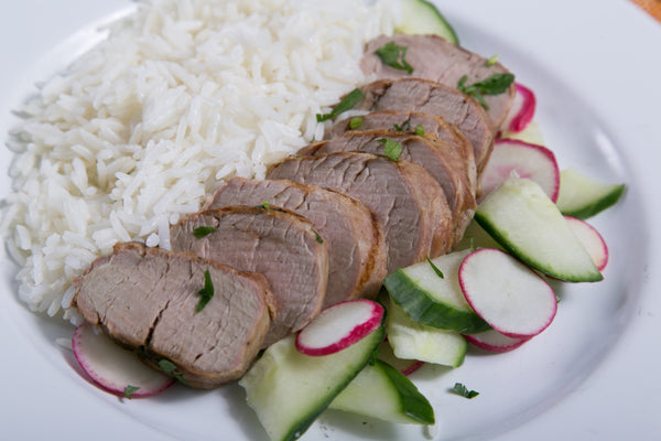 Spiced Pork Tenderloin with Cucumber Radish Salad