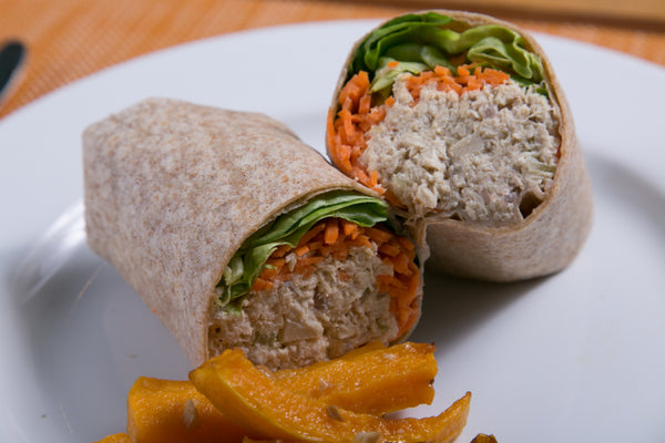 Spicy Tuna Wrap with Butternut Squash Fries