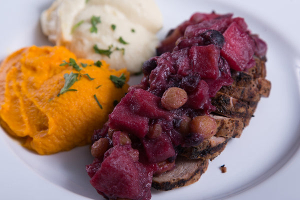 Grilled Pork with Apple-Berry Compote