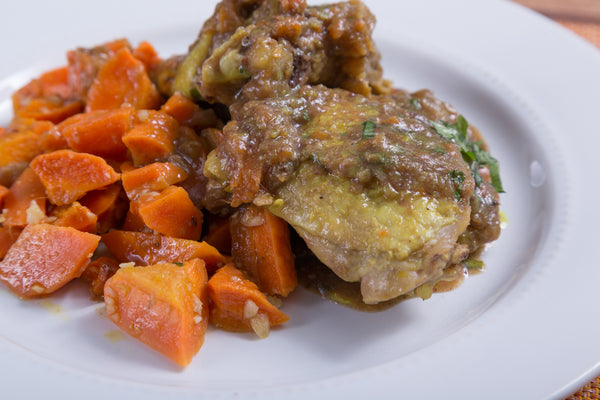 Braised Chicken Thighs with Toasted Carrots