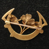 Crescent & Enamel Flower Beauty Pin Vintage 10k Gold