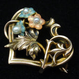 Flowers Heart Pin Vintage 14k Yellow Gold Enamel Pearls Lingerie Beauty