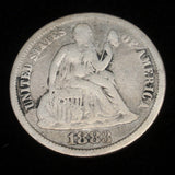 Love Token Coin Charm 1883 Seated Liberty Dime Initials BB