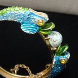 Enamel Hinged Clamper Bangle Bracelet Vintage 2 Fish & an Egg