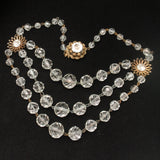 Faceted Crystal Bead Necklace Triple Strand with Flower Fittings Accents Vintage