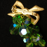 Bow with Dangling Cluster of Aurora Borealis Stones Brooch Pin AB Vintage