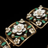 Alice White Flowers Bracelet & Earrings Set Vintage