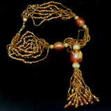 Bohemian Multi-Strand Necklace with Amber & Topaz Toned Beads & Tassel