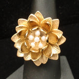 "Flower Ring ""Water Lily"" by Anitanja Freshwater Pearls"