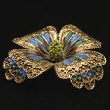 Flower Pin Vintage Enamel Excellent Details ART Brooch