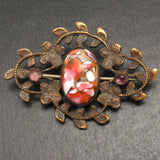 Art Glass Cab in Vintage Art Nouveau Pin