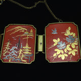 Asian Scenes Panel Bracelet Vintage Enamel