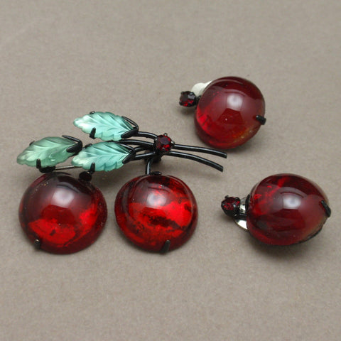 Austrian Fruit Pin and Earrings Set