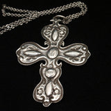 Cross Pendant Necklace Sterling Silver Turquoise Vintage BEMS Co.