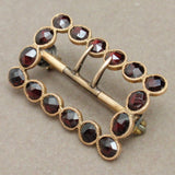 Bohemian Garnet Buckle Pin Vintage 14k Yellow Gold