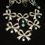 Betsey Johnson Necklace Bows and Blue Rhinestones