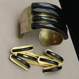 Art Deco Black Bakelite & Brass Cuff Bracelet and Duette Pin Clip