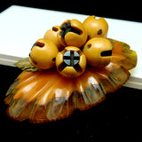 Bakelite & Celluloid Oval Dangling Flower Buds Brooch Pin Vintage