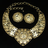 Jose Barrera Collar Necklace Earrings Set Gold Tone Bold Open Design Avon
