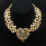 Jose Barrera Collar Necklace Earrings Set Gold Tone Bold Open Heart Design Avon