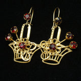 Flower Basket Earrings Gold Tone Red Rhinestones