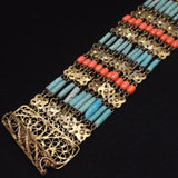 "Middle Eastern Bracelet Ethnic Beaded Vintage 1 3/4"" Wide"