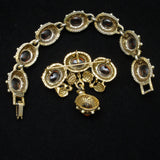 Bracelet Pin Set Benedikt NY Vintage Seed Pearls Amber Tone Cabs