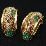 Bergere Set Vintage Brooch Pin Earrings & Ring Rhinestones