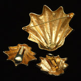 Shell Set Brooch Pin & Earrings Vintage Les Bernard