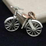 Bicycle Fob Large Charm Silver and Gold Filled Moving Parts