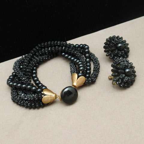 Black Bracelet and Earrings Set