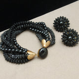 "Black 6-Strand Bracelet Earrings Set Vintage 8"" Long"