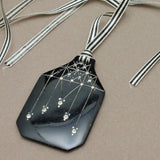 Black Celluloid and Rhinestone Pendant Silk Ribbon Vintage Necklace
