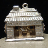 Blacksmith Shop Charm Vintage Sterling Silver Mechanical Ye Olde Smithy Moves