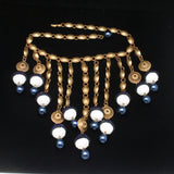 Brass & Bead Fringe Large Necklace Vintage Bohemian Ethnic Drippy Runway