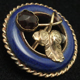 Blue Circle Pin with Grape Leaf Design Victorian Garnet