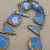 Blue Glass Necklace Vintage Domed Sqaures and Triangles Art Deco