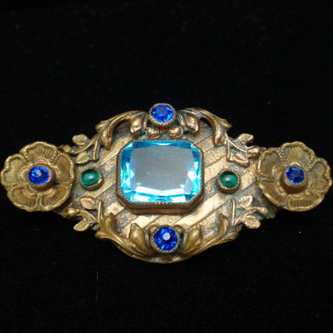 Ornate Antique Gold Tone Pin with Large Aquamarine Glass Stone