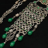 Bohemian Necklace Very Detailed Vintage Green Stones Unsigned