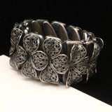 Expandable Flex Bracelet with Filigree Flowers Vintage Quality Construction