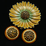 Daisy Set Enamel & Rhinestones Pin & Button Earrings Vintage