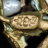 Budding Branch Pin Freshwater Pearl Flowers Vintage Hallmarked