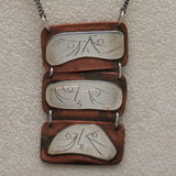 Irvin Bonnie Burkee Arts & Crafts Necklace Sterling Silver Copper Faces