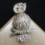 Owl Pin Marcasites Sterling Silver Germany Alice Caviness Vintage